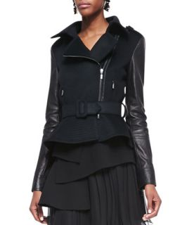 Womens Leather Sleeve Moto Jacket, Black   Oscar de la Renta   Black (12)