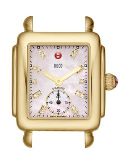 Deco 16 Diamond 18k Yellow Gold Watch Head, Pink   MICHELE   Silver/Pink (18k )