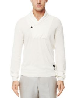 Mens Shawl Collar Cashmere Sweater, Off White   Alexander McQueen   Off white