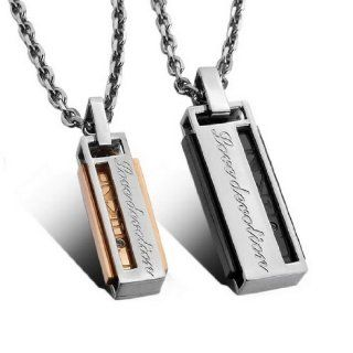 "JBlue Jewelry Men,Women's ""Love U"" 2PCS Stainless Steel Pendant Necklace CZ Silver Gold Cuboid Love Valentine's Couples His & Hers Set with 20 and 23 inch Chain (with Gift Bag) Jewelry"