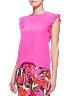Womens frilled cap sleeve blouse, rio pink   kate spade new york   Rio pink (6)