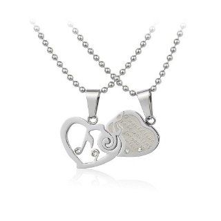 Stainless Steel Couple Music Note Lovers Pendant Necklace Set His and Hers w/ Crystal CZ Rhinestone Jewelry. FREE CHAIN NECKLACES INCLUDED. Jewelry