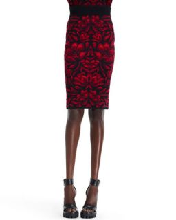 Womens High Waist Tulip Jacquard Skirt, Black/Red   Alexander McQueen