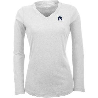 Antigua New York Yankees Womens Flip Long Sleeve V neck T Shirt   Size Large,
