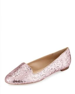 trick glittered smoking slipper, rose gold   Kate Spade   Rose gold glitter (36.
