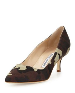 BB Satin 50mm Pump, Camo (Made to Order)   Manolo Blahnik   Camo (35.0B/5.0B)