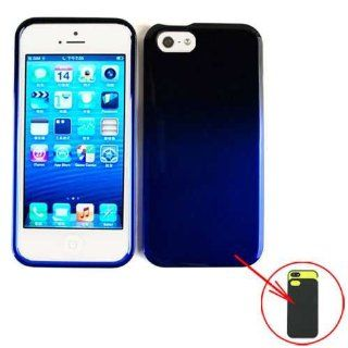SLIDING HARD CASE COVER FOR APPLE IPHONE 5 TWO TONES BLACK BLUE Cell Phones & Accessories