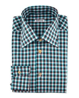 Mens Long Sleeve Check Dress Shirt, Teal/Brown   Kiton   Teal/Brown (38/15)