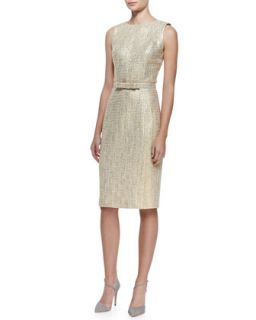 Womens Sleeveless Tweed Sheath Dress   Badgley Mischka Collection   Gold (0)