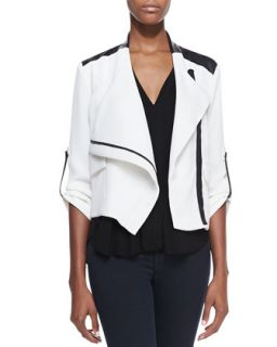 Womens Blake Leather Trim Moto Jacket   Generation Love   White/Blk (XS)