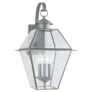 Sea Gull Lighting 8058 71 3 Light Outdoor Colony Wall Lantern, Clear Beveled Glass and Polished Brass   Wall Porch Lights