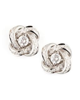 Ava 18k White Gold Diamond Pivoine Earrings, 0.62 TCW   Boucheron   White (18k )