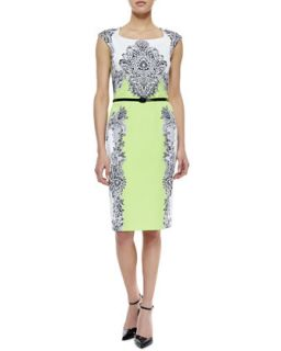 Womens Baroque Print Belted Dress, Multicolor   David Meister   Multi (8)