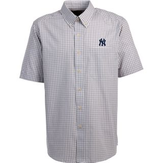 Antigua New York Yankees Mens Scholar Button Down Short Sleeve Shirt   Size