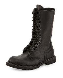 Lace Up Leather Army Boot, Black   Rick Owens   Black (37.0B/7.0B)