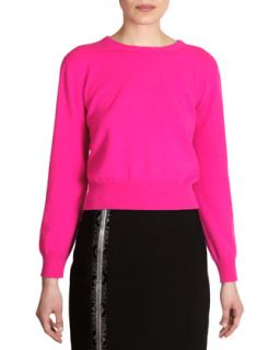 Womens Cashmere Crewneck Sweater, Fuchsia   Christopher Kane   Fuchsia (XL/10)