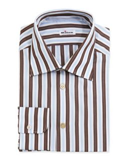 Mens Woven Striped Dress Shirt, Brown   Kiton   Brown (17)