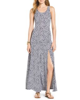 Womens Sleeveless Slit Hem Maxi Dress   MICHAEL Michael Kors   Navy (SMALL)