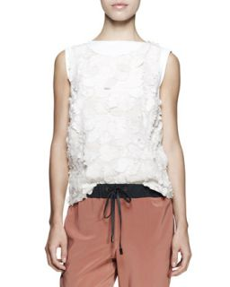 Sleeveless Embroidered Flower Top   Brunello Cucinelli