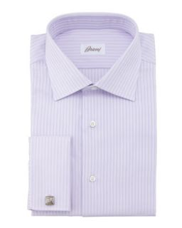 Mens Herringbone Striped Dress Shirt, Lavender   Brioni   Lavender (15 1/2L)