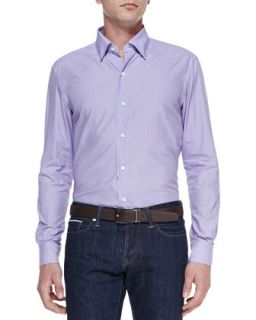 Mens Poplin Micro Gingham Shirt, Purple   Ermenegildo Zegna   Purple (MEDIUM)