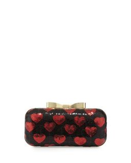 Heart Sequin Chain Clutch, Red/Black   Betsey Johnson