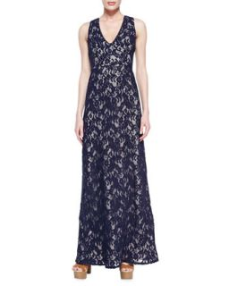 Womens Katrine Sleeveless Lace Gown   korovilas   Navy/Nude (SMALL)