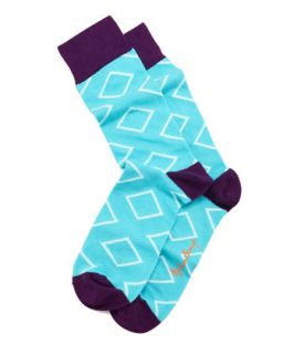Outlined Diamond Mens Socks, Aqua   Arthur George by Robert Kardashian   Teal