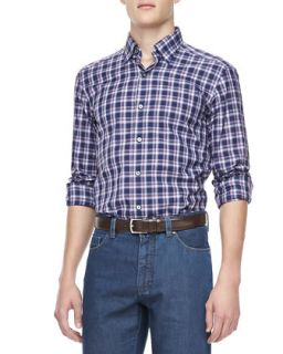 Mens Large Plaid Sport Shirt, Navy/Plum   Ermenegildo Zegna   Navy (XXL)
