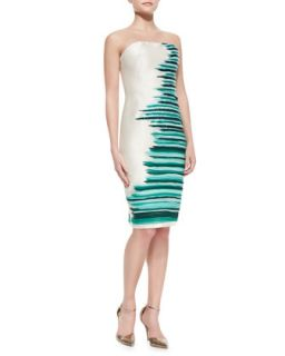 Womens Silk Embroidered Strapless Cocktail Dress, Jade/Multi   Lela Rose