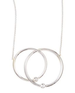White Gold Diamond Large Circle Necklace   Roberto Coin   Silver