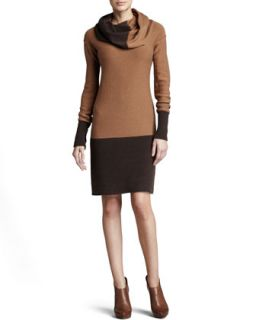 Womens Cowl Neck Two Tone Dress   Kay Unger New York   Camel/Brown (MEDIUM/8