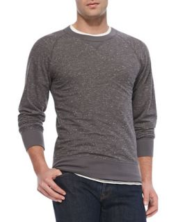 Mens Flecked Crewneck Sweatshirt, Light Gray   Billy Reid   Light gray (SMALL)