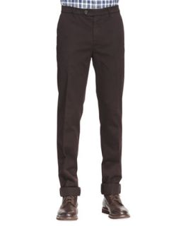 Mens Cotton Flat Front Pants, Ebony   Brunello Cucinelli   Ebony (56)