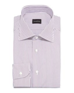 Mens Bengal Striped Dress Shirt, Burgundy/White   Ermenegildo Zegna   White