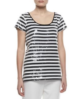 Womens Sequined Striped Short Sleeve Tee, Petite   Joan Vass   Black/Brt white