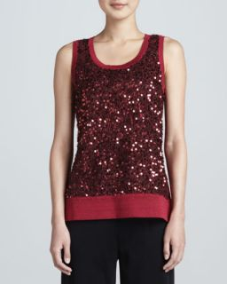 Womens Sequined Metallic Knit Tank, Petite   Misook   Hollyhock (PL (12/14))