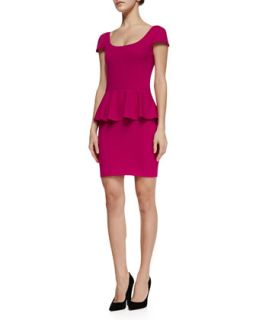 Womens Cap Sleeve Ponte Peplum Dress   Amanda Uprichard   Pink (SMALL)