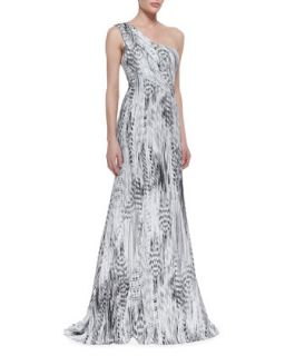 Womens One Shoulder Printed Gown, Black/White   ML Monique Lhuillier