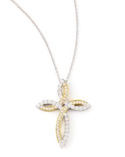 Valencia 18k White & Yellow Gold Diamond Cross Necklace   Frederic Sage   White