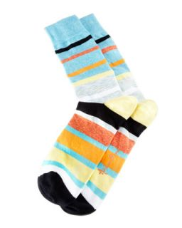 Space Dye Stripes Mens Socks, Teal/Multi   Arthur George by Robert Kardashian