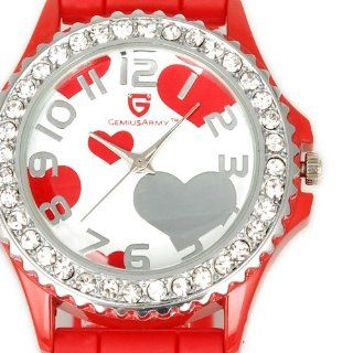 Red HOT Heart Shape Sweet Jelly SIlicon Soft Band Crystal Girl Lady Gift Wrist Watch Electronics