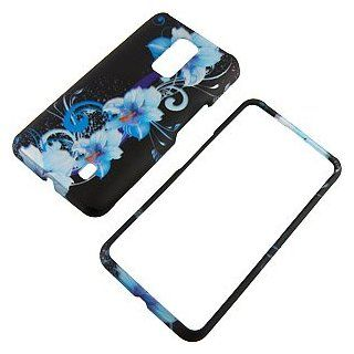 Blue Flowers Black Protector Case for LG Spectrum VS920 Cell Phones & Accessories