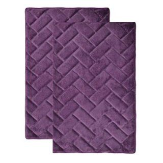 "Plum Purple Memory Foam Bath Mat/rug  Brick Design, Spa Soft Microfiber, Non Skid Backing (17"" x 24"" 2 Piece Set)   Bathmats"