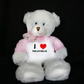 Plush White Teddy Bear (Dena) toy with I Love Theophilia (first name/surname/nickname) Toys & Games