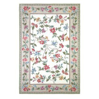 KAS Rugs 1707 Colonial Floral Vine Runner, 5 by 8 Feet, Ivory   Area Rugs