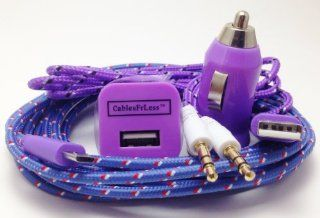 CablesFrLess 10ft Braided High Quality Micro B USB 4 in 1 Charger and Auxiliary Set fits Android phones Samsung Galaxy HTC LG Optimus Pantech Blackberry Motorola Sony ZTE (Purple) Cell Phones & Accessories