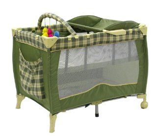 Dream On Me Deluxe Adjustable Height Play Yard with Changing Area, Green  Baby