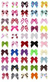 "Hip Girl Boutique No Clip Baby Ribbon Hair Bows Baby Shower Gift (50pc 1"" Wide Grosgrain Mini Bows. Color Might Vary From Displayed) Clothing"