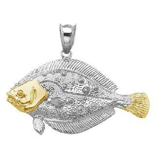 925 Sterling Silver Nautical Necklace Charm Pendant, 14K Gold Accent Floun Million Charms Jewelry